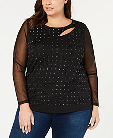 I.N.C. Plus Size Illusion Cutout Top, Created for Macy's