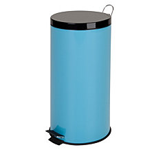 Honey Can Do 30L Metal Step Trash Can, Blue