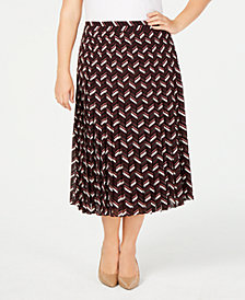 MICHAEL Michael Kors Plus Size Printed Pleated Midi Skirt