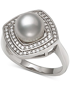 Cultured Freshwater Pearl (8mm) & Cubic Zirconia Statement Ring in Sterling Silver