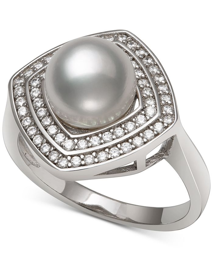 Macy's - Cultured Freshwater Pearl (8mm) & Cubic Zirconia Statement Ring in Sterling Silver