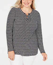 MICHAEL Michael Kors Plus Size Striped Lace-Up Top