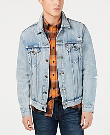 Men's Ripped Denim Trucker Jacket