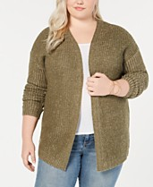 2ed9588a9ed30 Planet Gold Trendy Plus Size Laced-Back Chunky-Knit Cardigan