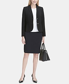 Two-Button Blazer, Pleated Top & Pencil Skirt