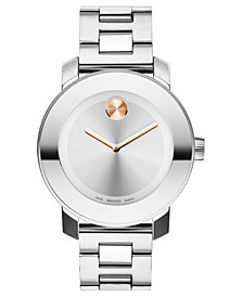 Movado Women's Swiss Bold Medium Stainless Steel Bracelet Watch 38mm 3600084