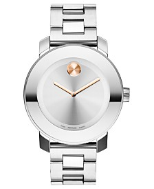 Movado Women's Swiss Bold Medium Stainless Steel Bracelet Watch 38mm 3600084