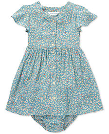 Polo Ralph Lauren Baby Girls Shirred Floral-Print Dress