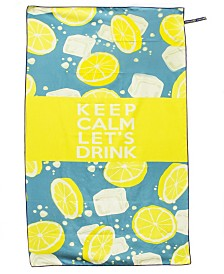 Premium Beach Towel Super Absorbent & Soft Lightweight & Compact Anti-bacterial Travel Accessory Keep Calm Let's Drink Yellow By MinxNY