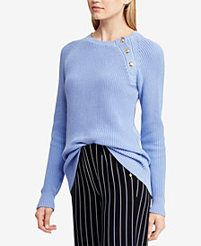 Lauren Ralph Lauren Button-Trim Cotton Sweater
