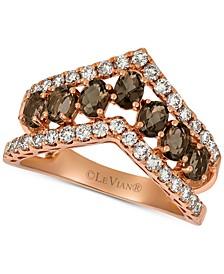 Smoky Quartz (9/10 ct. t.w.) & Nude™ Diamond (5/8 ct. t.w.) Chevron Statement Ring in 14k Rose Gold
