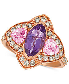 Le Vian® Multi-Gemstone (1-9/10 ct. t.w.) & Nude™ Diamond (5/8 ct. t.w.) Ring in 14k Rose Gold