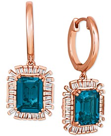 Baguette Frenzy™ London Blue Topaz (3-1/2 ct. t.w.) & Diamond (1/4 ct. t.w.) Drop Earrings in 14k Rose Gold
