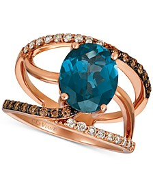 London Blue Topaz (3-3/4 ct. t.w.) & Nude ™ & Chocolate™ Diamond (3/8 ct. t.w.) Swirl Ring in 14k Rose Gold