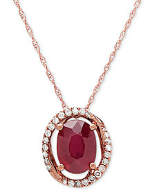 "Ruby (1-5/8 ct. t.w.) & Diamond (1/8 ct. t.w.) Halo 18"" Pendant Necklace in 10k Rose Gold"
