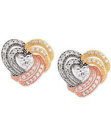 Cubic Zirconi Tricolor Heart Stud Earrings in Sterling Silver & Gold- and Rose-Gold Plate