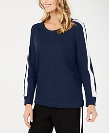 Karen Scott Striped-Sleeve French Terry Sweatshirt, Created for Macy's
