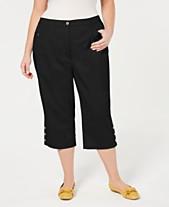 7ba5117896c Karen Scott Plus Size Button-Cuff Capri Pants