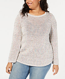 Style & Co Plus Size Textured-Stripe Confetti Sweater, Created for Macy's