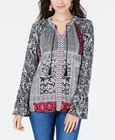 Style & Co Petite Printed Bell-Sleeve Peasant Top, Created for Macy's