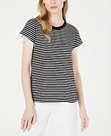 Maison Jules Striped Lace-Trim Top, Created for Macy's