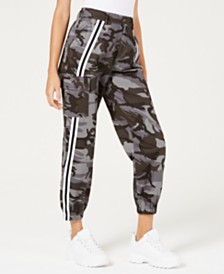 Waisted Dark-Camo Varsity-Stripe Jogger Pants