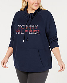 Tommy Hilfiger Sport Plus Size Funnel-Neck Logo Sweatshirt