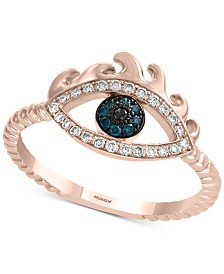 EFFY® Diamond Evil Eye Ring (1/5 ct. t.w.) in 14k Rose Gold