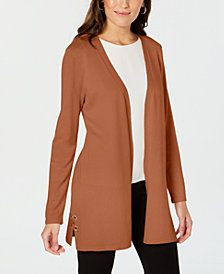 JM Collection Petite Open-Front Lace-Up Cardigan, Created for Macy's