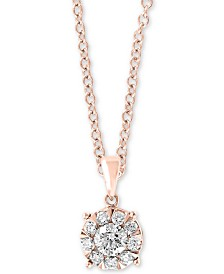 """EFFY® Diamond Cluster 18"""" Pendant Necklace (1/2 ct. t.w.) in 14k Rose Gold"""