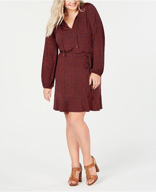Michael Kors Plus Size Printed Peasant Dress & Reviews - Dresses ...