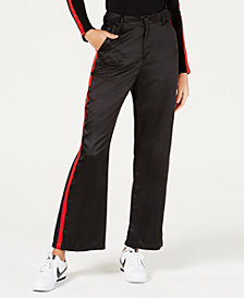 Waisted Wide-Leg Side-Striped Pants