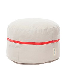 Cotton Exposed Zipper Pouf Ottoman with Storage