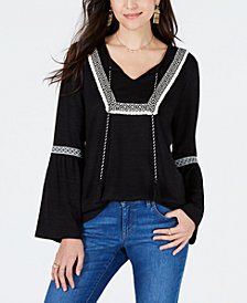 Style & Co Embroidered-Trim Solid Peasant Top, Created for Macy's