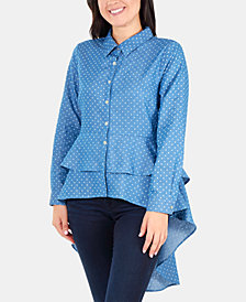 NY Collection Polka Dot Peplum Blouse