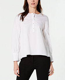 Tommy Hilfiger Bishop-Sleeve Button-Neck Top, Created for Macy's