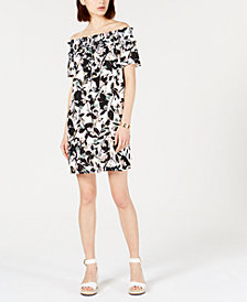 Tommy Hilfiger Printed Off-The-Shoulder Dress, Created for Macy's