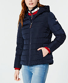 Tommy Hilfiger Knit Collar Hooded Puffer Jacket, Created for Macy's