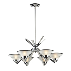 Refraction Collection 6-Light Chandelier Satin Glass with Clear Stripe