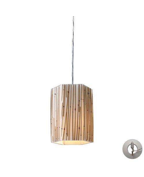 ELK Lighting Modern Organics 1 Light Pendant in Polished Chrome and Bamboo Stem