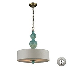 Lilliana 3 Light Pendant in Seafoam and Aged Silver Includes An Adapter Kit To Allow for Easy Conver