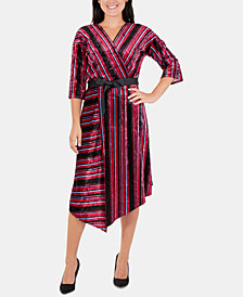 NY Collection Striped Velvet Faux-Wrap Dress