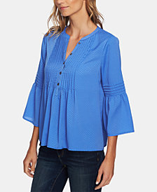 CeCe Pintucked Satin Jacquard Top