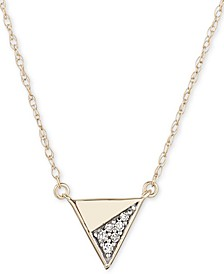 "Diamond Accent Triangle 16"" Pendant Necklace in 14k Gold"