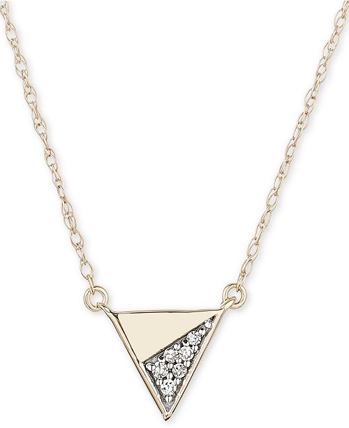 """Elsie May Diamond Accent Triangle 16"""" Pendant Necklace in 14k Gold"""