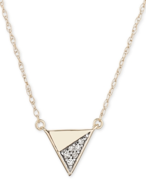 "Elsie May Diamond Accent Triangle 16"" Pendant Necklace in 14k Gold"