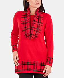 NY Collection Contrast Plaid-Print Tunic Sweater