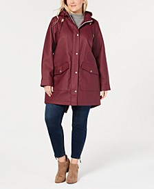 Trendy Plus Size Hooded Rain Parka Jacket
