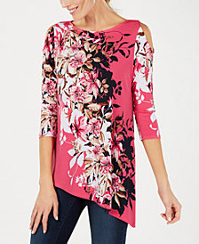 JM Collection Embellished Asymmetrical 3/4-Sleeve Top, Created for Macy's