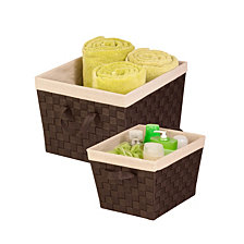 Honey Can Do Set of 2 Woven Totes with Liner, Espresso